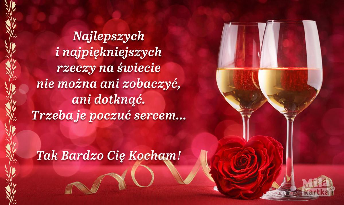 Romantyczna kartka Walentynkowa.