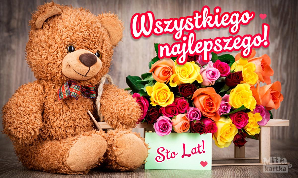 Urodzinowy miś  i kwiaty dla Ciebie