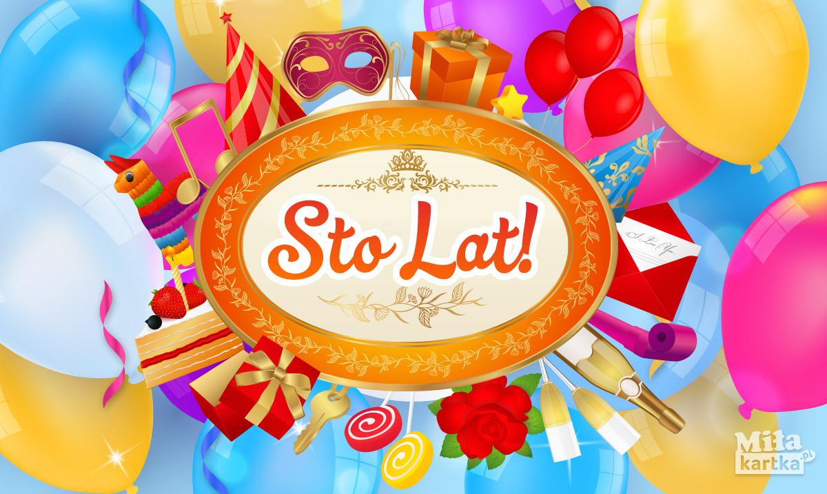 Kolorowa kartka urodzinowa – Sto Lat!
